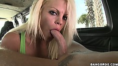 Talented long-haired blonde is giving her pussy away for a great fuck